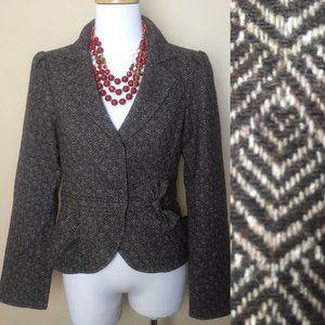 Nanette Lepore Tweed Wool Peplum Bow Jacket Blazer